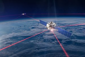 Artist's impression of a segment of a LEO mega-constellation supported by laser communication.